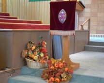 More decorations in the sanctuary when our congregation gathers to praise God and give thanks.