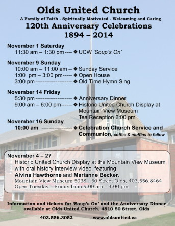Here is our schedule for the 120th Anniversary celebrations.