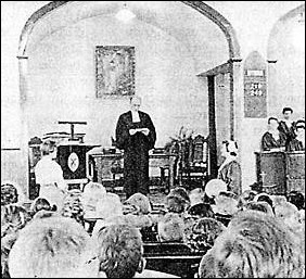 Rally Day in the old church, 1958. Reverend John J. Towers in Chancel.