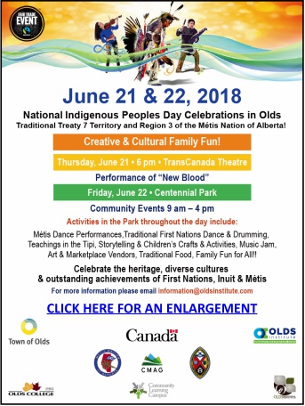 National Indigenous Peoples Day is celebrated in Olds with the hosting by the Olds United Church.